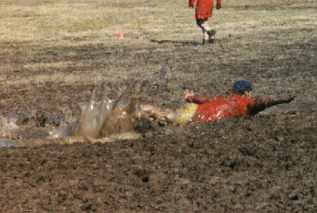 laying out into a mud puddle